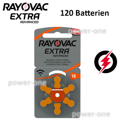 120 x Hörgerätebatterien Typ 13 Rayovac Extra Advanced 7,9 x 5,4 mm
