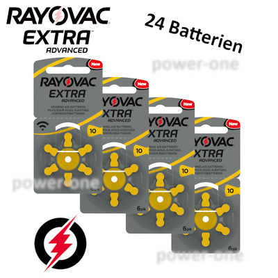 24 x Hörgerätebatterien Typ 10 Rayovac Extra Advanced  5,85 x 3,6mm