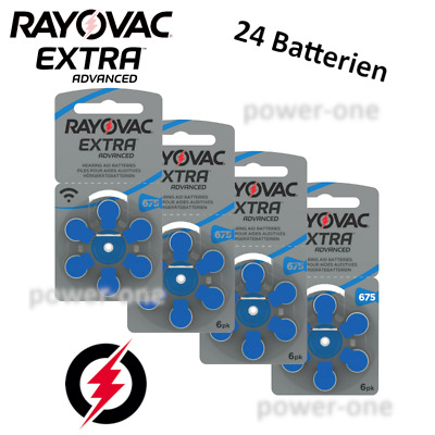 24 x Hörgerätebatterien Typ 675 Rayovac Extra Advanced 11,6 x 5,4 mm