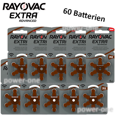 60 x Hörgerätebatterien Typ 312 Rayovac Extra Advanced 7,9 x 3,6mm