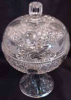 EAPG Clear Glass Compote Stars Bars Style Etched Lid