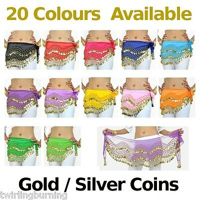 Adult Belly Dancing Dance Coin Belt 1.5m 20 colours Hip Scarf Skirt Wrap AB01