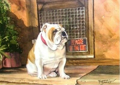 Outstanding Bulldog print, Beware of the Dog, SIGNED