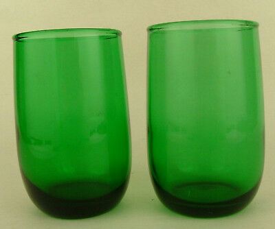 2 Anchor Hocking Roly Poly Green Juice Glass Tumblers