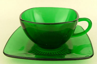 Vtg Anchor Hocking Charm Forest Green Glass Cup Saucer