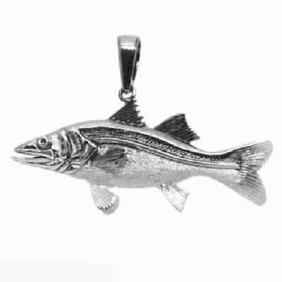 10.0g Sterling Silver SNOOK FISH 3D (3 Dimensional) Solid Pendant, Made in USA
