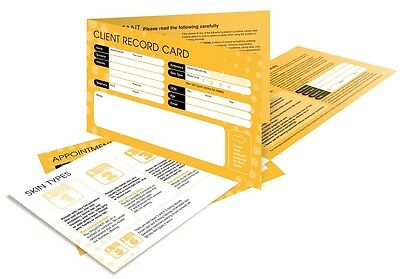 50 Client Record Cards for Sunbed Tanning Salons 18+