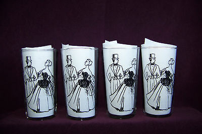 Set of 4 Federal elegant couple mixed drink clear glass tumblers