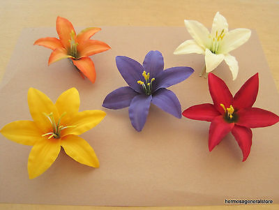 Five 35 multi lily silk flower hair clips lotwedding prom dance five 35 multi lily silk flower hair clips lotwedding prom dance mightylinksfo
