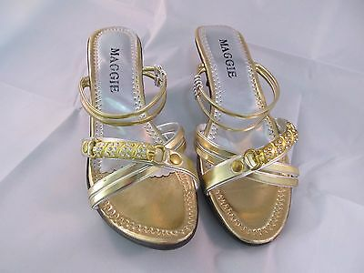 New Women Maggie Low Heal Fancy Shoes US Size 8 Gold
