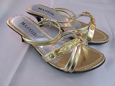 New Women Maggie Low Heal Fancy Shoes US Size 7 Gold