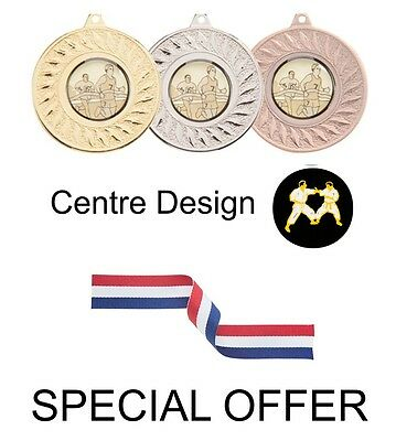SPECIAL OFFER 10 x Karate 50mm Metal Medals & Ribbon Gold Silver and Bronze