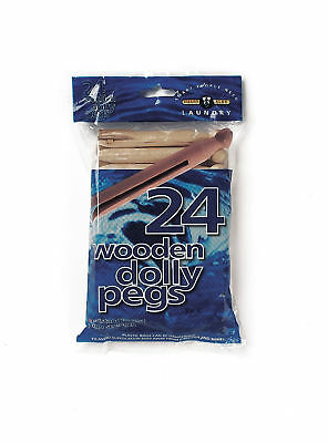 New Pack Of 24 Wooden Dolly Pegs 24Pk