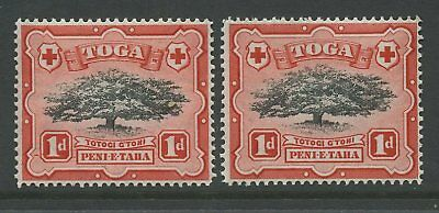 TONGA 1942 1d TREE VARIETY...DASH BEFORE VALUE..UM MINT
