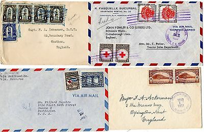 HONDURAS x 4 COVERS TO UK AND USA - 1 RE-USED STAMPS?