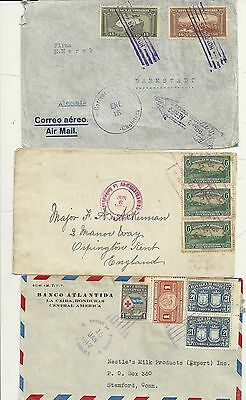 1933/47  3 x HONDURAS COMMERCIAL COVERS TO UK AND USA