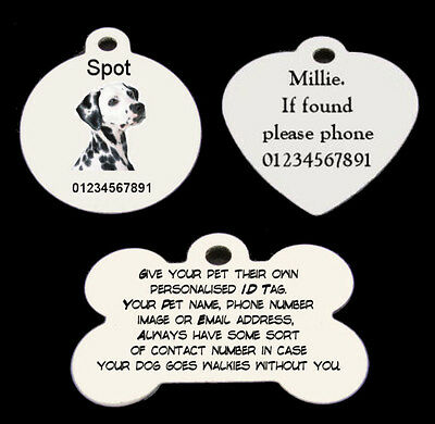 Personalised Aluminium round, heart or bone Dog, Cat, Pet Tags in white