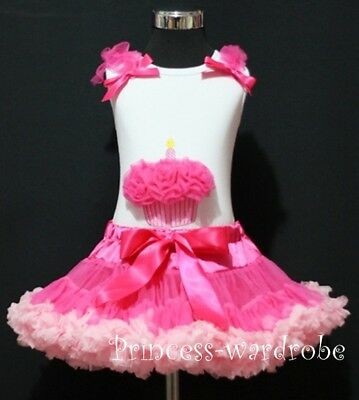 Hot Light Pink Pettiskirt and Hot Pink Cupcake Top 1-8Y