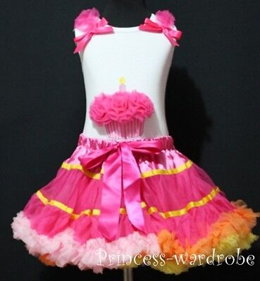 Rainbow Mix Pettiskirt with Hot Pink Cupcake Top 1-8Y