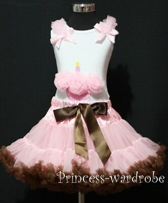 Light Pink Brown Pettiskirt with Pink Cupcake Top 1-8Y