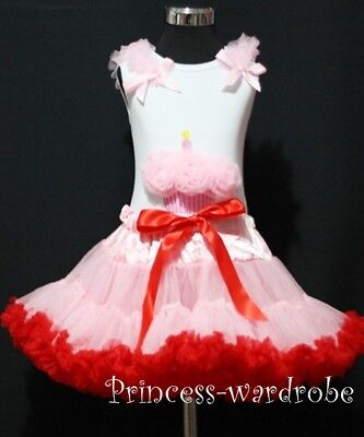 Light Pink Red Pettiskirt with Pink Cupcake Top 1-8Y