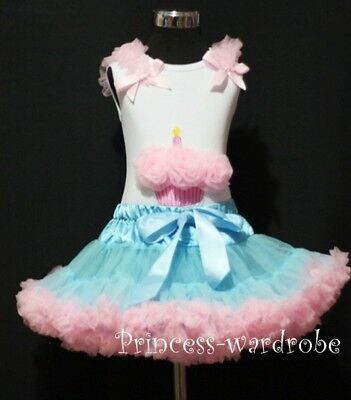 Light Blue Pink Pettiskirt with Pink Cupcake Top 1-8Y