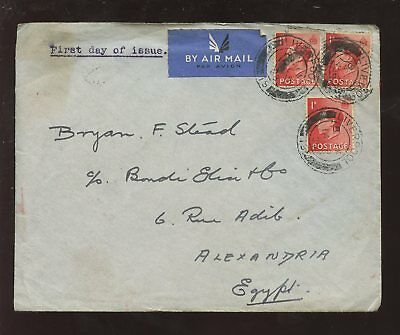 GB KE8 1936 1d FDC 3d AIR COVER to EGYPT...STEAD BROS