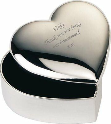 Personalised Engraved Heart Silver Plated Trinket Box Bridesmaid Gift Present