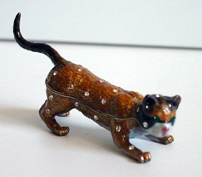 Beautiful Jeweled Burmese Cat Pewter Hinged Trinket Box Green Crystal Eyes NIB