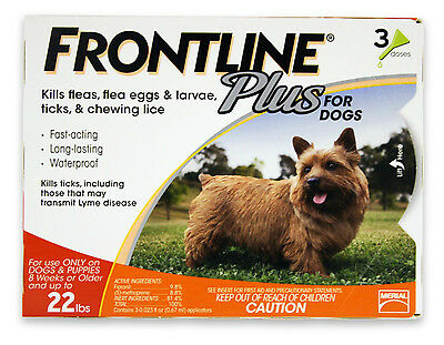 Frontline Plus for Dogs 0-22 lbs 3 Doses Genuine USA