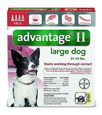 Advantage II for Dogs 21-55 lbs 4pk (4 Month Supply) Genuine EPA USA