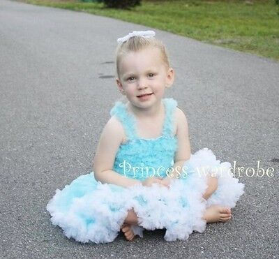 Light Blue White Pettiskirt Blue Ruffle Pettitop 1-8Yrs