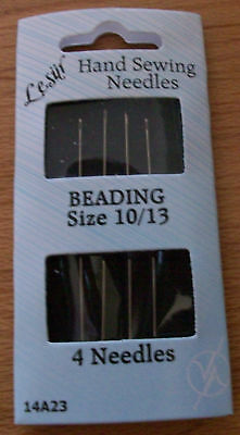 4 Hand Sewing Beading Needles Size 10/13 (B)