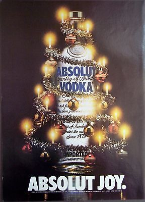 1981 Absolut Voda w/ Christmas decor vintage holiday ad
