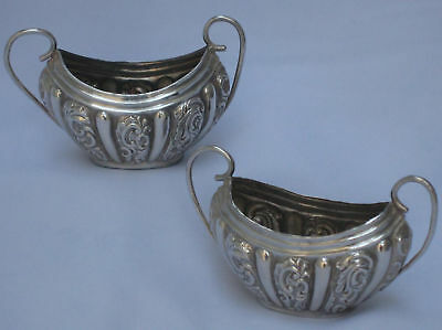 Nice Pair of Antique English Sterling Silver Victorian 1891 Salts