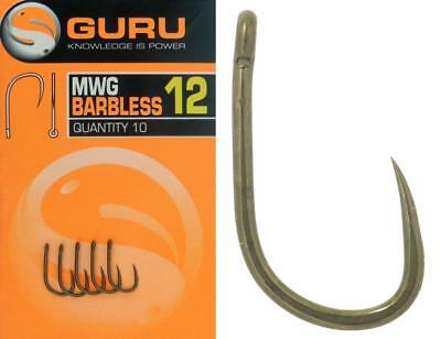 Guru Match Wide Gape MWG Barbless Eyed Hooks