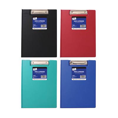A4 Foldover PVC Foolscap Clipboard Black Red Blue Green