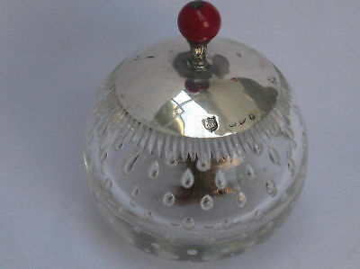 Very Rare English Victorian 1898 Sterling Silver Rouge Cut glass Dispenser