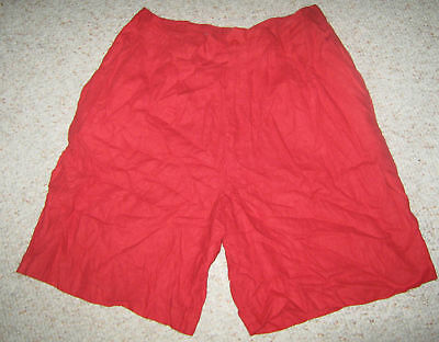 FUNDAMENTAL THINGS Vtg Red Pleated Linen Blend High Waist Boho Walking Shorts 16