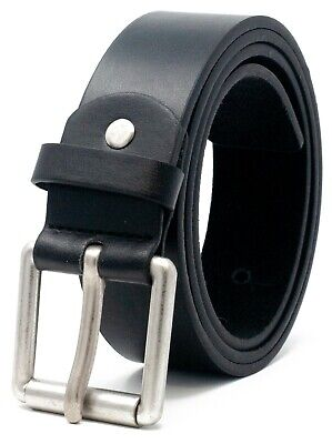 "New Mens Leather Belt For Jeans By Ossi In Black Sizes 32"" - 60"" Nwt"