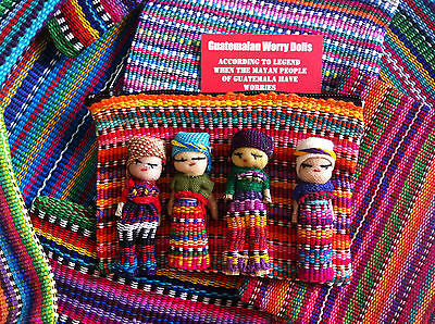Guatemalan Worry Doll - Textile Zip Bag With 4 Dolls