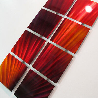 Metal Wall Art Red Painting Modern Abstract Panel Set Sculpture Home Decor