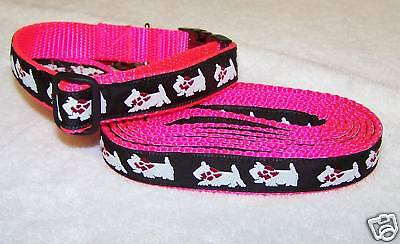 Westie Collar&leash Set Pink Traditional Free Ship Usa