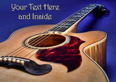 PERSONALISED CLASSIC FOLK ACOUSTIC GUITAR MUSIC BIRTHDAY FATHERS DAY etc CARD