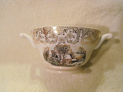 Lot 4 Knowles U.s.a.  Footed Gold Winter Scene Bowl