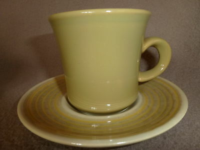 FRANCISCAN PEBBLE BEACH GREEN & YELLOW 4 CUP SAUCER SET