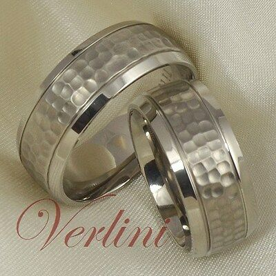 8MM Titanium Rings Set His & Her Hammered Wedding Bands