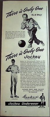 1945 Jockey Underwear bowler Ned Day vintage ad