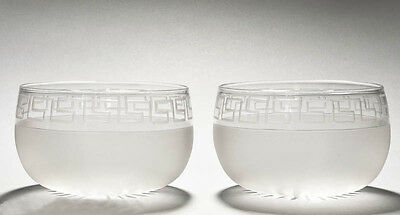 Pair of Victorian Classical Greek Key Etched Glass Antique Finger Rinser Bowls