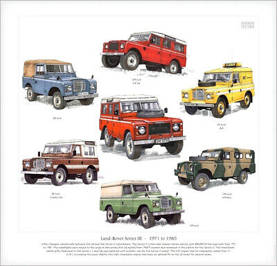"LAND ROVER Series III  FINE ART PRINT - Pickup Station Wagon Military 88"" & 109"""